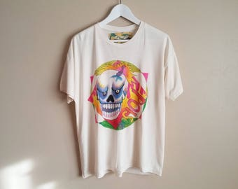 Hand Painted Natural Bamboo Jersey T-shirt with Original Artwork. Poison Pogs Rainbow Colourful Skull Graphic. Size Medium.