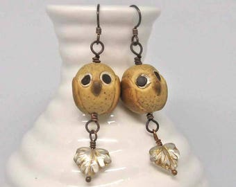 Little Barn Owl earrings, whimsical polymer clay owls on brass wires