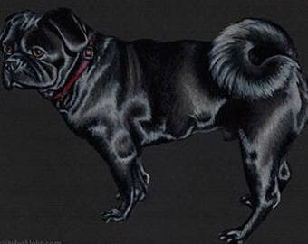 Black Pug Art Note Card
