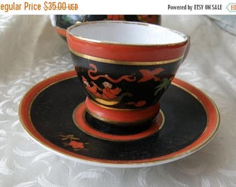 christmasinjuly Tiny Cup and Saucer Whimsical Chinoserie Orange and Black