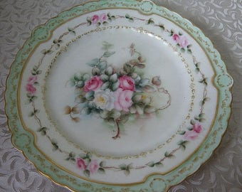 "christmasinjuly Antique FRENCH Hand PAINTED Plate with ROSES 9"" across"