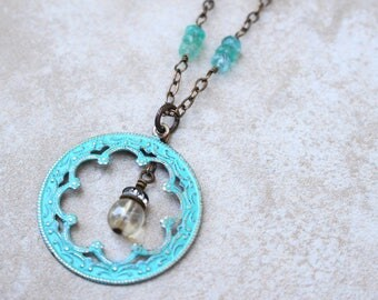 Turquoise necklace, Decorative scrollwork ring necklace, Patina necklace, bohemian style necklace,  Czech glass, boho chic style