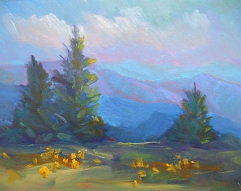 "Mountain Landscape Painting, Small Oil Painting, Blue Ridge Parkway, 6x8"" Original Landscape, Daily Painting"