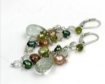 30% SALE Green Gemstone Earrings Wire Wrap Green Amethyst Vesuvianite Earrings Green Champagne Pearl Cluster Dangle Earrings Sterling Silver