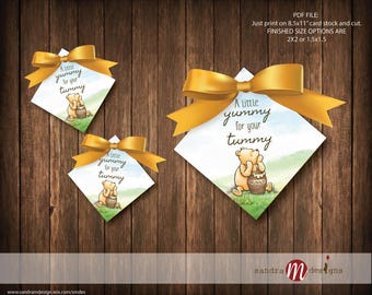 Classic Winnie the Pooh Baby Shower Favor Tags