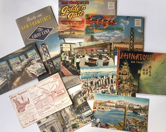 Terrific 1940's 1950's San Franscisco Travel Ephemera Lot of Maps and Postcards