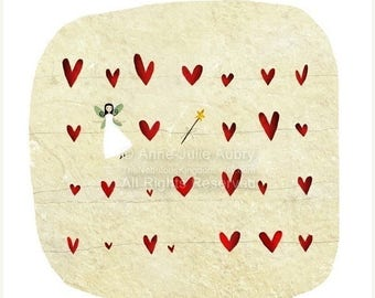50% Off - Summer SALE A fairy, a Wand, some Hearts... - open edition print