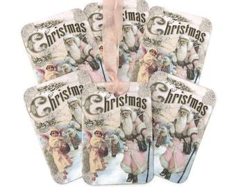 Christmas Pink Tags,Santa Claus Vintage Retro Tags, Pink Snow Angel, Christmas Decor,Merry Christmas,Happy Holidays, Handmade Australia