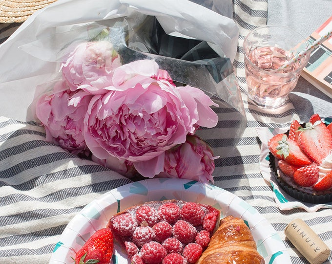 Paris Photography, Rosé Paris Picnic at the Eiffel Tower, Pink Peonies, Parisian Picnic, Summer in France, Paris Wall Art, Rebecca Plotnick