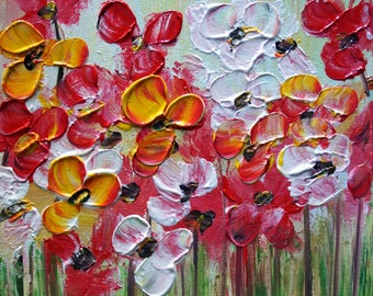 Wildflowers Original Oil Painting on Canvas Art by Luiza Vizoli 8 by 10