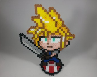 Cloud Strife - Final Fantasy VII - Super Smash Bros - Perler Bead Sprite Pixel Art Figure Stand or Lanyard Necklace