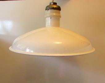 Industrial White Enamel Chandelier Ceiling Light Warehouse Ceiling Mount Light All Original Tested