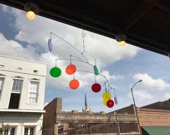 Outdoor Mobile in Transparent Colors - Perfect for the Nursery or Patio - Bright Circles For a Pop of Color in your Life