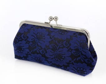 HALF PRICE SALE Black & Navy Blue Camellia Lace Bridal Clutch + silver frame | Gift Mothers Clutch Ready To Ship
