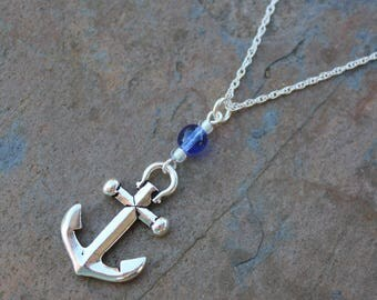 In The Navy Silver  Anchor Necklace - Blue, White sparkly Czech glass beads - Nautical jewelry - Sterling silver chain- Free shipping in USA