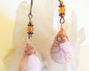 Magnesite Briolette Earrings, Cream and Amber, Dangle Earrings, Handcrafted Jewelry, Copper or Niobium Ear Wires, Copper Wire Wrap