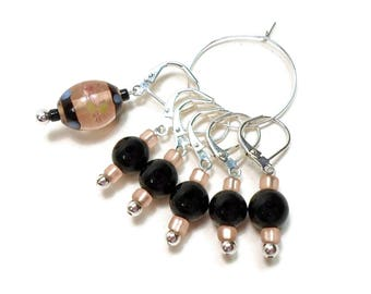 Removable Stitch Markers Crochet Row Markers Black and Peach Locking Knitting Supplies DIY Crafts