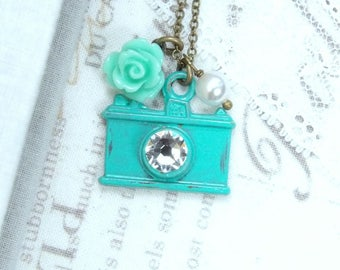 Photographer Necklace Camera Jewelry Photographer Gift Bronze Camera Necklace Turquoise Necklace