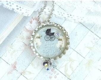Keep Calm Necklace Sleep Necklace Bottle Cap Necklace Nap Gift Sleep Jewelry Keep Calm And Go To Sleep