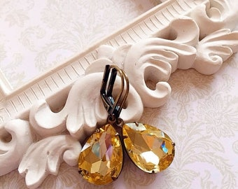 SALE 20% Off Citrine Earrings - Yellow - Victorian Earrings - November Birthstone - CAMBRIDGE Citrine