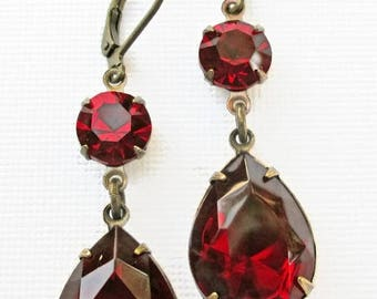 SALE 20% Off Christmas Party Jewelry - Ruby Red Crystal Earrings - Dangle Earrings - Victorian Earrings - ANGELINA Ruby