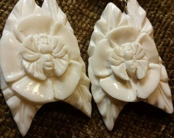 Carved Bone Earrings - Butterfly Flower