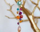 swarovski crystals, sterling silver, czech crystal, rainbow, jewel tone, made in hawaii