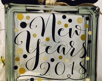 New Year's Eve party block - New Year's resolutions 2018 party decoration - interactive game- Black and gold