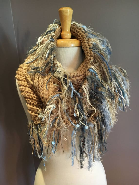 Knit Beige wide infinity scarf, 'Showstopper', Glitzy Ribbon Fringed Knit Round Loop Infinity, Poncho, tan blue scarf, Boho wrap, sweater
