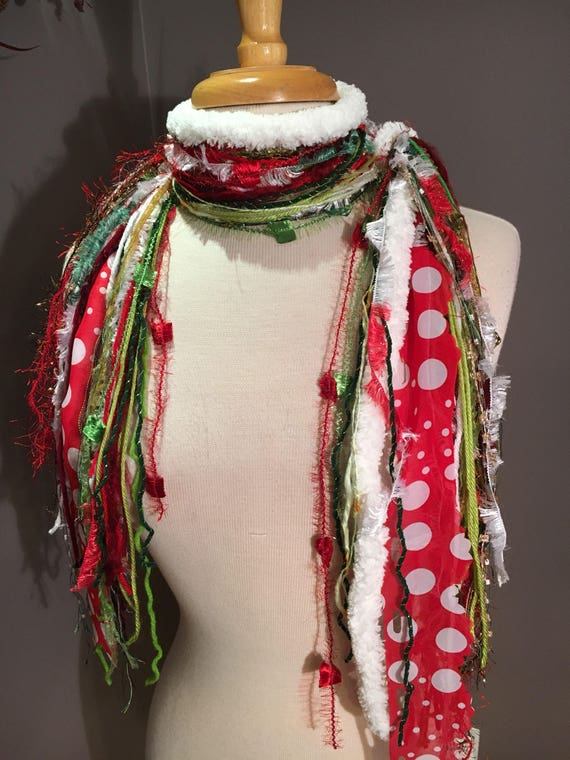 Medium Fringe Scarf, Grinch Fringie, Christmas scarf in red, lime, green, and white with polka dots and plaid, holiday scarf