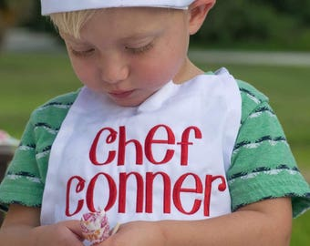 Kids Chef Apron ~ Kids Chef Hat ~ Kids Chef Set ~ Cooking Birthday Party ~ Christmas apron set ~ boys apron ~ boys chef hat ~ girls chef hat