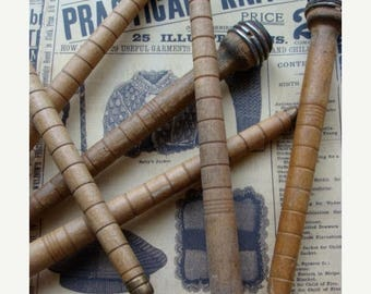 ONSALE 6 Antique Wooden Spools Bobbins