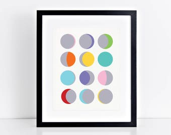phases of the moon modern print, minimalist and colourful home decor artwork, space themed nursery boy or girl, printed wall art grey blue