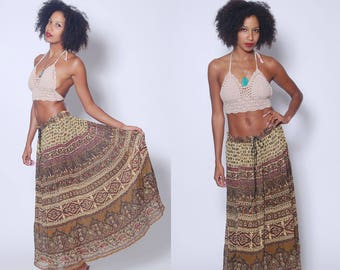 Vintage 90s ETHNIC Print Maxi Skirt INDIAN Crinkle Skirt Printed Hippie Boho Festival Skirt Broom Skirt