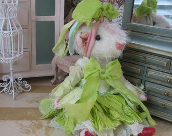 "Guinea Pig Doll - ""Miss Sallie Bernice Olivier"" - 5-6"" Tall - 1:12 Dollhouse Scale Fancy Miniature Art Doll"