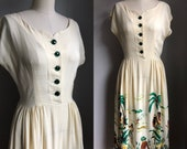 Vintage 1940's Rayon Hawaiian Luau Novelty Border Print Dress Size Small