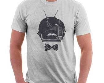 Fancy TV Set - Funny Tshirts - Original Tshirts - Mustache - Silver - Men's Tee - Women's Tee - Humor - Gifts for Him