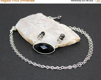 Christmas In July Sale - Black Onyx and Rutilated Quartz Gemstone . Sterling Silver Pendant Necklace . Jet Black, Crystal Clear . N16097