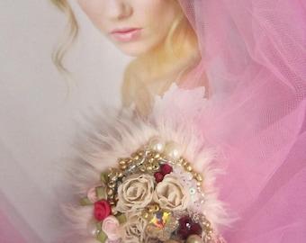 Embroidered Beaded Brooch, Mixed Media,  Wedding Brooch, faux Fur, Wearable Art,  Brooch Pin