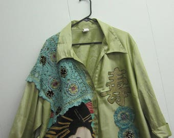 Asian Lady Art to Wear, Upcycled Top, Reworked Top, Embellished Top, Boho Chic, Whimsy, Plus Size.
