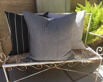 Pillow Cover Set of Three  in Black, Greys and Cream    Designer Fabrics   Farmhouse / Modern / Masculine Decor