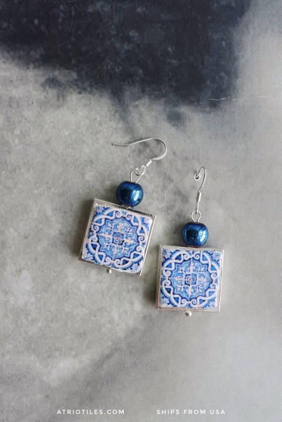 Silver Earrings Portugal Tile Azulejos Portuguese  Antique FRAMED - Évora  UNESCO World Heritage - Reversible/waterproof Gift boxed BLUE 690