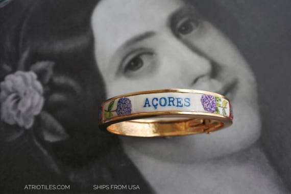 BRACELET Açores Azores BANGLe Portugal with Antique Azulejos and Hydrangeas!  Hortensias Heritage size 8 PRE ORDER