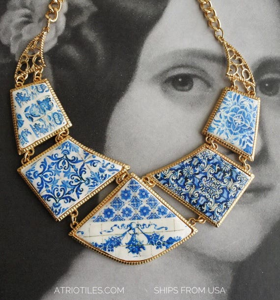 Necklace Tiles Frieze Romantic Portugal Portuguese Blue Tiles Statement Bib -Delft - Ships from USA Valentine's Day