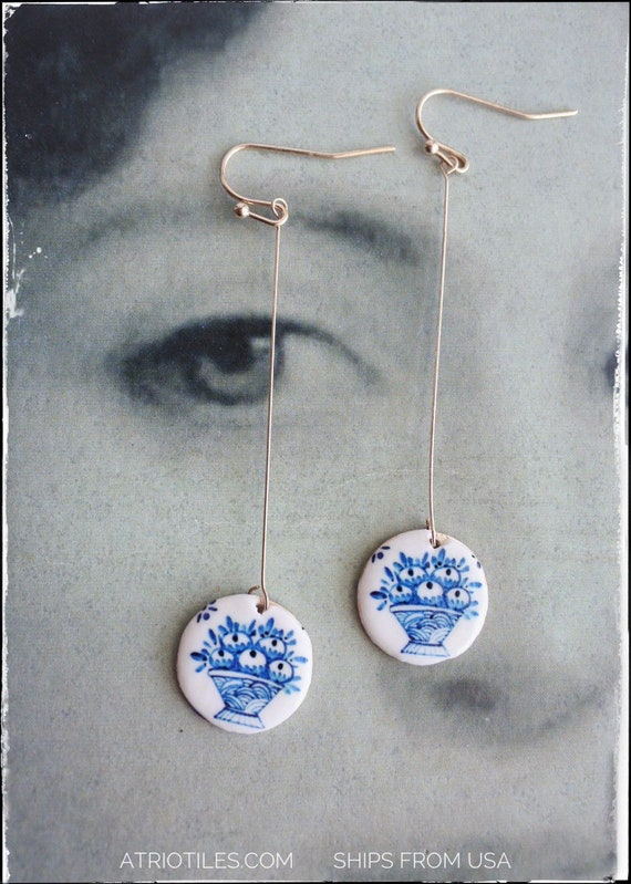 Earrings Tile Portugal Delft Minimalist  Antique Azulejo Minimalism Rose Gold Évora Blue Delft Fruit Basket Ships from USA Delicate