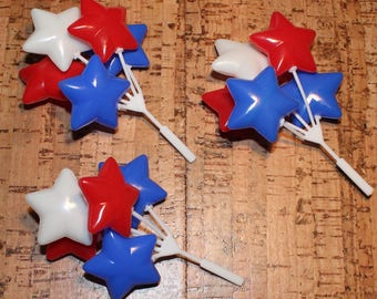 Red, White and Blue Star Balloon Picks   (Set of 3)   DISCONTINUED