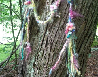 scarf lariat fantasy fiber art yarn braid garland scarf adornment -  summers solstice garden party