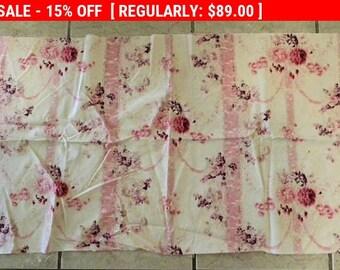 Antigua tela rosas cintas algodón francés