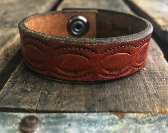 Soft Brown Tooled Leather Cuff Bracelet- Upcycled- Gift for her- Recycled