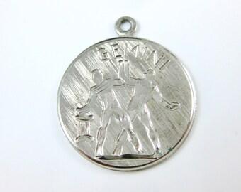 Vintage Sterling Silver Gemini Zodiac Horoscope Charm